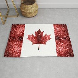 Canada flag red sparkles Rug