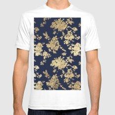 Elegant vintage navy blue faux gold flowers MEDIUM Mens Fitted Tee White