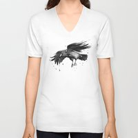 raven V-neck T-shirts featuring Raven by Olechka