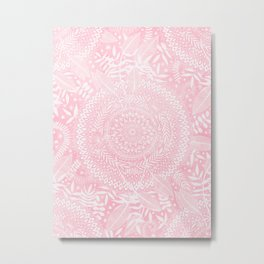 Medallion Pattern in Blush Pink Metal Print