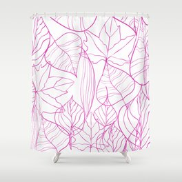 Abstract Modern Pink Hand Painted Leaves Pattern Shower Curtain