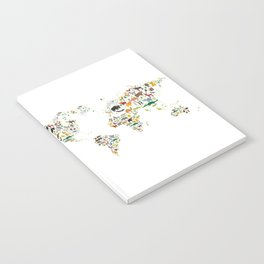 Cartoon animal world map for children and kids, Animals from all over the world on white background Notebook