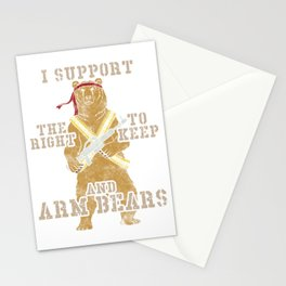 Funny I Support The Right To Arm Bears Pun Stationery Cards