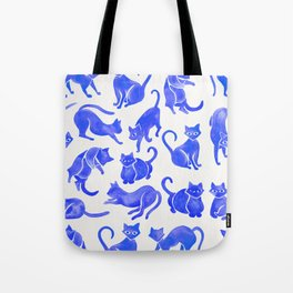 Cat Positions – Blue Palette Tote Bag