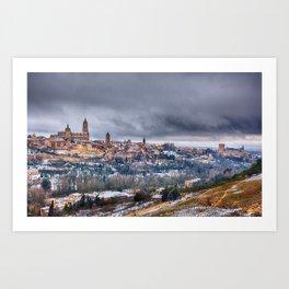 Segovia in Spain snowed in winter. Art Print
