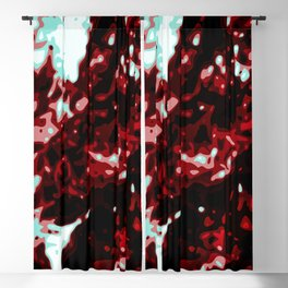 Bloody Red - Black - White  Abstract Vector Texture Blackout Curtain