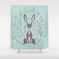 hare Shower Curtains featuring Hare by Sophie Mitchell