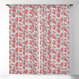 Crimson and Silver Floral Blackout Curtain