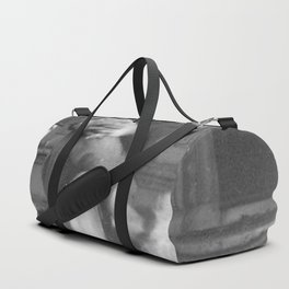 Albert Einstein in Fuzzy Slippers Classic Black and White Satirical Photography - Photographs Duffle Bag
