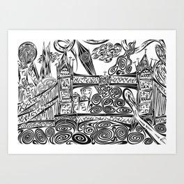 Jumbled London Art Print