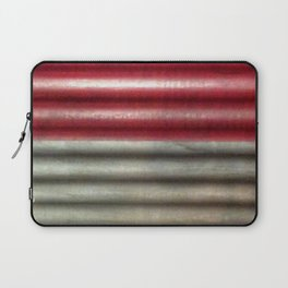 Industrial Wall | Red Grey Striped Wall | Contemporary Art Laptop Sleeve