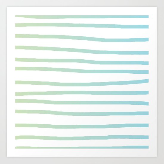 Simply Drawn Stripes in Turquoise Green Blue Gradient on White Art Print