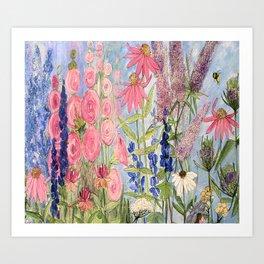 Flowers Garden Acrylic Painting Art Print