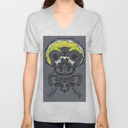yellow skull and bone graffiti drawing with grey background Unisex V-Neck