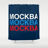 moscow Shower Curtains featuring MOSCOW by eyesblau