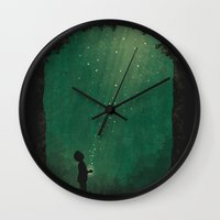 fireflies Wall Clocks featuring Fireflies by laurxy