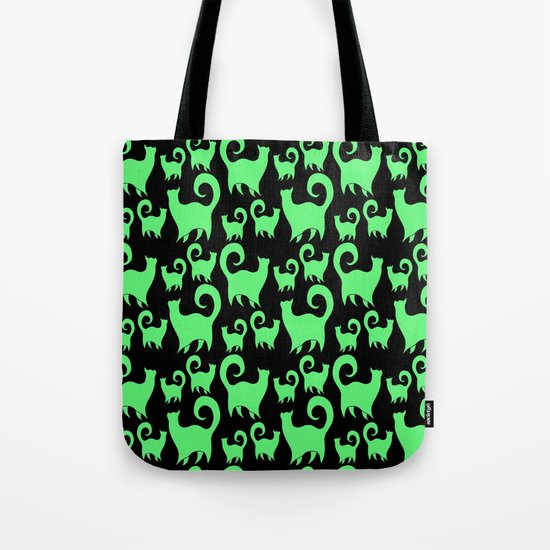 Green Snobby Cats Tote Bag