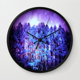 Turquoise Trees Purple Space Wall Clock