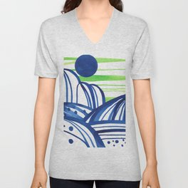Lime and blue abstract landscape Unisex V-Neck