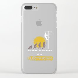 Electrical Electricity Tradesman Wiring Lineman Evolution Of An Electrician Gift Clear iPhone Case