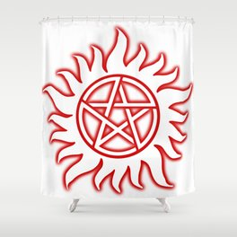Anti Possession Sigil Red Glow Transp Shower Curtain