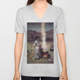 THE MAGIC CIRCLE - JOHN WILLIAM WATERHOUSE Unisex V-Neck