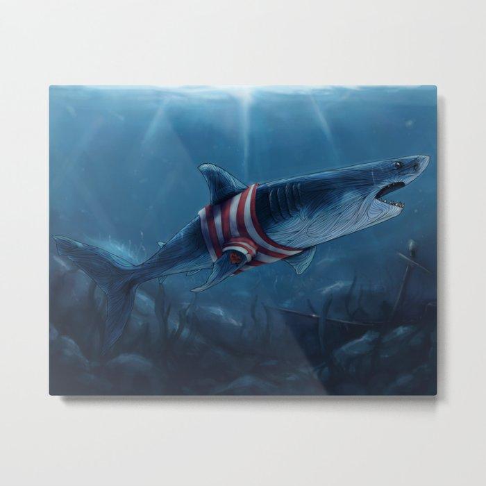 Shark in a Shirt Metal Print