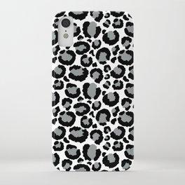 White Black & Light Gray Leopard Print iPhone Case