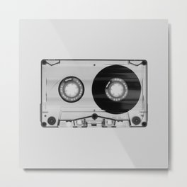 Vintage 80's Cassette - Black and White Retro Eighties Technology Art Print Wall Decor from 1980's Metal Print
