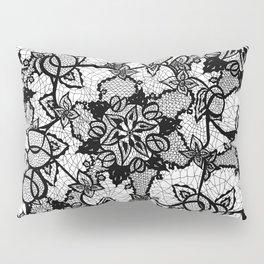Elegant floral black hand drawn lace pattern Pillow Sham