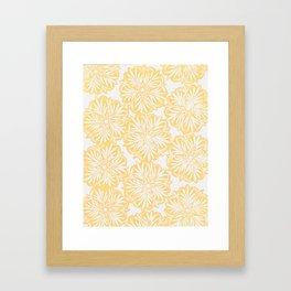 Hand Carved Starburst Yellow Framed Art Print