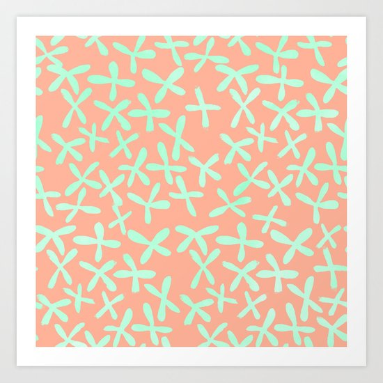 Sweet Life Firefly Peach Coral + Mint Meringue Art Print