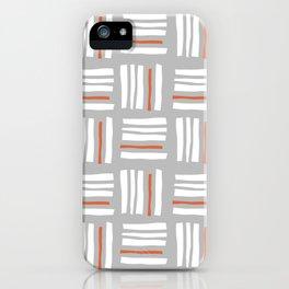 Stripes×Checkered Pattern_Gray&Orange iPhone Case