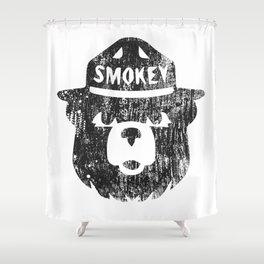 Smokey Bear Distressed Logo Shower Curtain