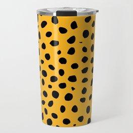 Black Orange Cheetah Print Travel Mug