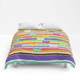 Colorful Peeking Cats on stripes Comforters