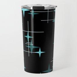 Mid Century Modern Stars Black Teal Travel Mug