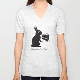 Bunnies Love Cake, Bunny Illustration, cake lovers, animal lover gift Unisex V-Neck