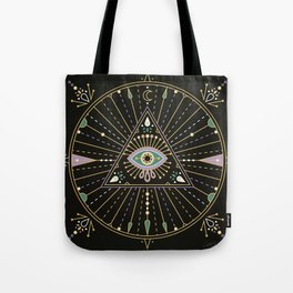 Evil Eye Mandala – Black Tote Bag
