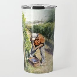 Vineyard Watercolor Landscape Wine Grapes Nature Travel Mug