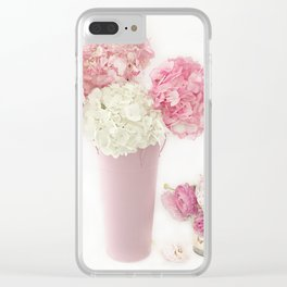 Shabby Chic Pink and White Hydrangeas Floral Print Home Decor Clear iPhone Case