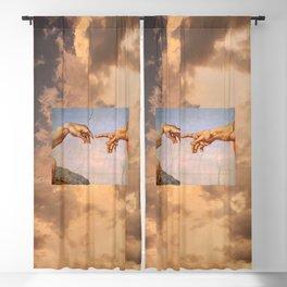 The Creation of Adam Michelangelo Cloudscape Hands Blackout Curtain