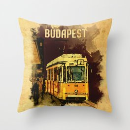 Retro Tram 2 in Budapest Throw Pillow