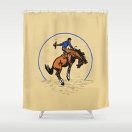 Full Moon Bronc & Cowboy Shower Curtain