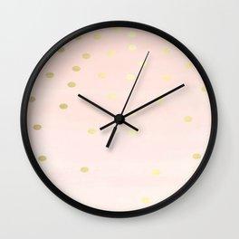 Pink Gold Confetti Polka Dots Brushstruck Wall Clock