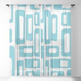 Retro Mid Century Modern Abstract Pattern 336 Light Aqua Blue Green Sheer Curtain