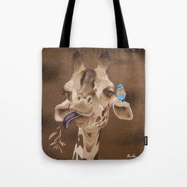 Giraffe with Bird Tote Bag