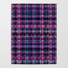 Electric Pink - Purple Plaid Poster
