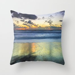 Sea storm approaching the beach making reflections in the sand Throw Pillow