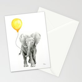 Elephant Watercolor Yellow Balloon Whimsical Baby Animals Stationery Cards
